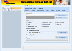 Duplicate Email Eliminator Across Folders for Outlook 2007, 2010 screenshot