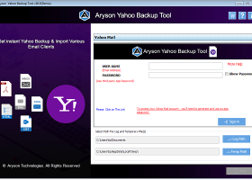 Aryson Yahoo Backup Tool screenshot