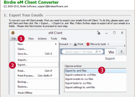 Export EM Client to Outlook screenshot