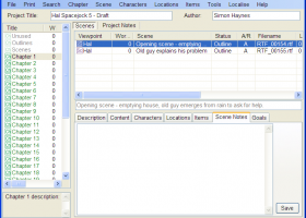 yWriter screenshot
