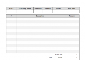 Blank Service Invoicing Template screenshot