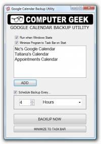 Google Calendar Backup Utility screenshot