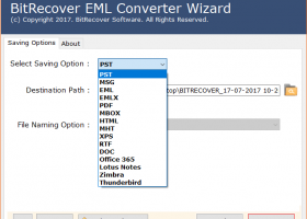 Convert EML to Zimbra screenshot