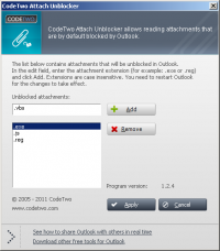 CodeTwo Attach Unblocker screenshot