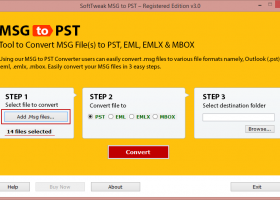 Convert Outlook .msg to .pst screenshot