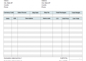 Commercial Invoice Template screenshot